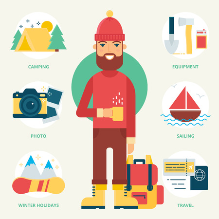 walking trail: Hiker and Tourist. Vector illustration, flat style