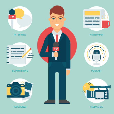 informe: Profesión: reportero de televisión, Periodista. Ilustración del vector, estilo plano