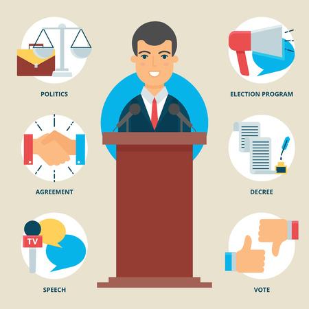public speaker: Profession: Politician. Vector illustration, flat style Illustration
