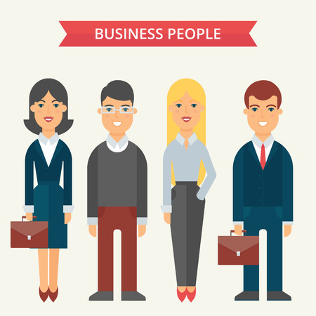 office team: Business people vector illustration, flat style