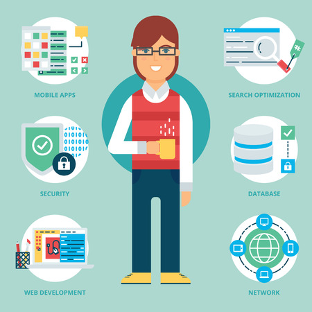 the programmer: Profession: Programmer. Vector illustration, flat style Illustration