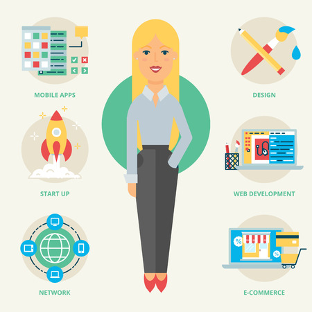 web developer: Profession: Web developer. Vector illustration, flat style