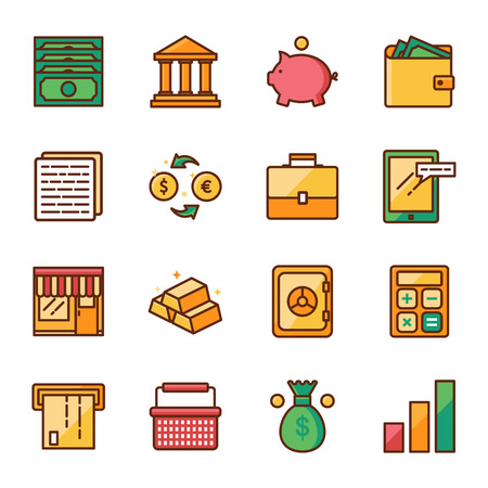 finance icons: Finance and marketing vector icons set color line style