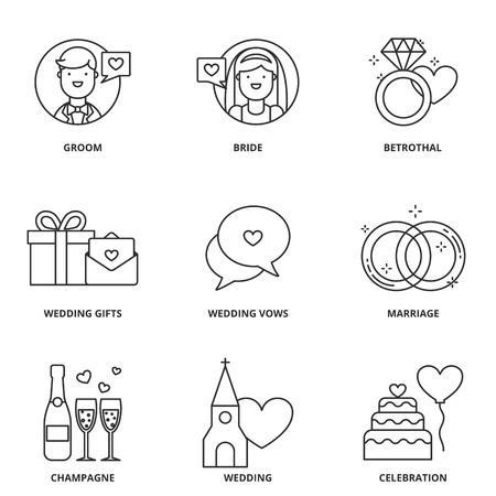familia en la iglesia: Iconos del vector de la boda fijados