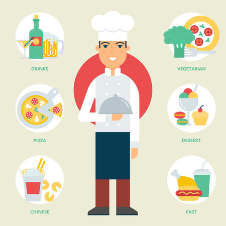 cooking chef: Profession: Chef. Vector illustration, flat style