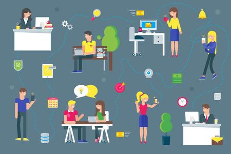 Teamwork en sociaal netwerk begrip voor het web en infographic. Vlakke stijl vector illustratie