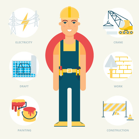 under construction sign with man: Profession: Builder. Vector illustration, flat style