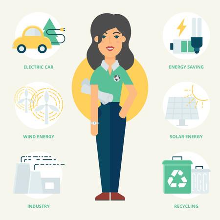 ecologist: Profession: Ecologist. Vector illustration, flat style