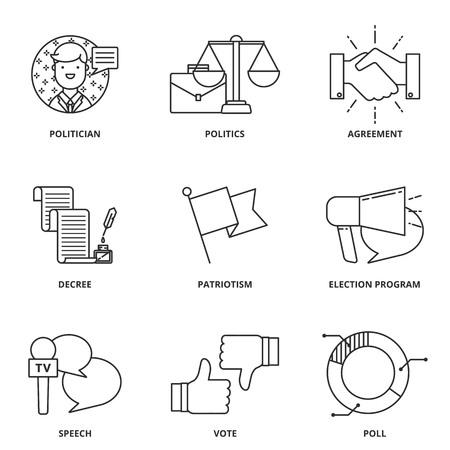 politics: Politics vector icons set Illustration