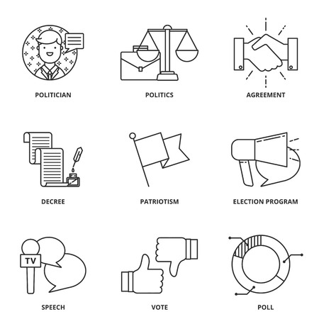 Politics vector icons set Illustration