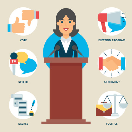 political: Profession: Politician. Vector illustration, flat style Illustration