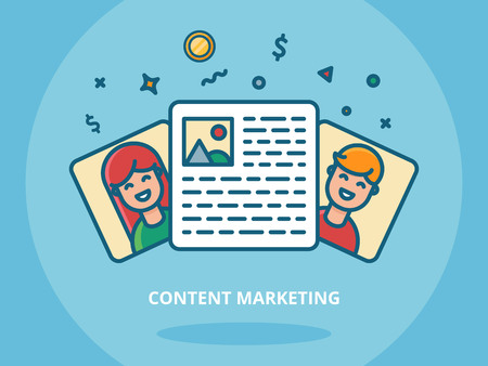 content management: Content marketing and blogging concept vector illustration