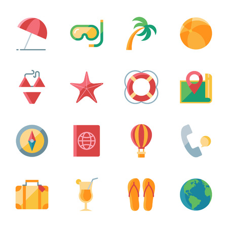 tour operator: Travel vector icons set flat style Illustration