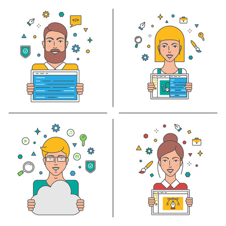 office worker: Web developers, teamwork, business people vector illustration Illustration