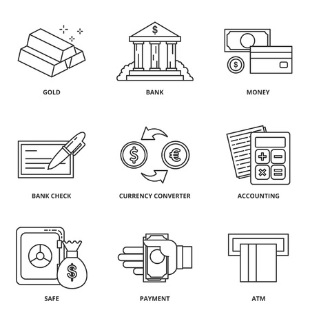 currency converter: Money and finance vector icons set Illustration