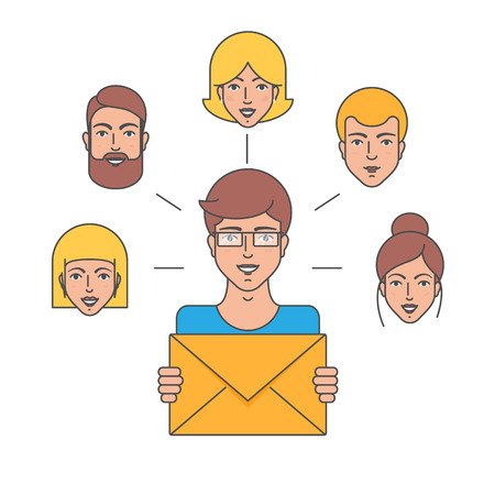 subscribing: Email marketing, advertising, sending e-mail, subscribing, managment vector illustration