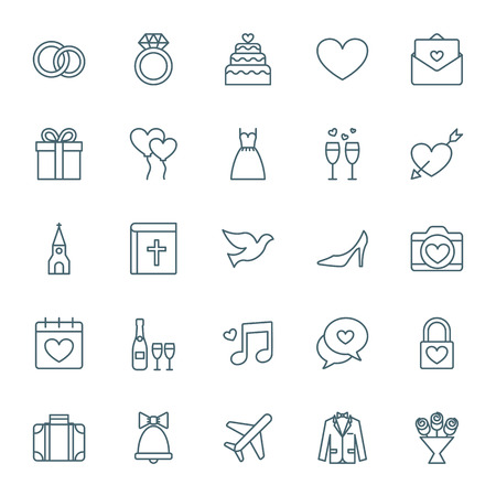 Hochzeit Icons Set Illustration