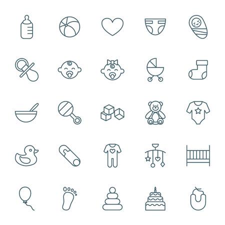 rattles: Baby icons set Illustration