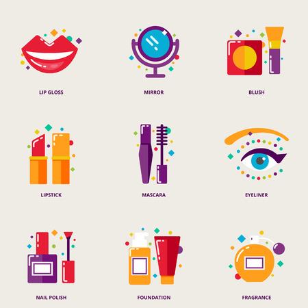 espejo: Coloridos iconos de belleza establecidos: brillo labial, espejo, rubor, l�piz labial, rimel, delineador de ojos, esmalte de Naul, fundaci�n, fragancia