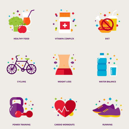 complex: Diet colorful icons set: healthy food, vitamin complex, diet, cycling, weight loss, water balance, power training, cardio workouts, running Illustration