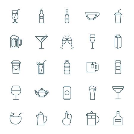 glass jar: Drinks icons set