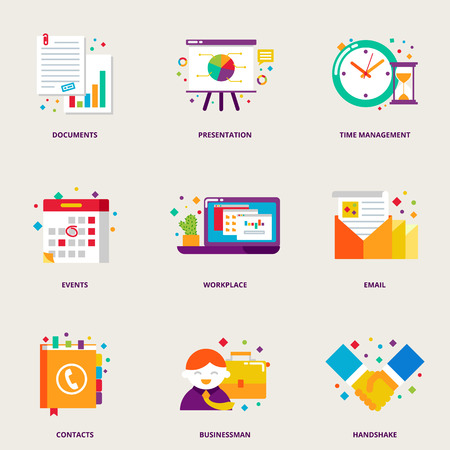 Office and business colorful icons set: documents, presentation, time management, events, workplace, email, contacts, businessman, handshake Illustration
