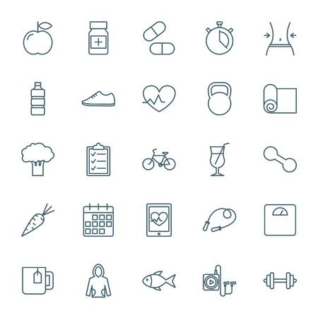 program: Fitness icons set Illustration