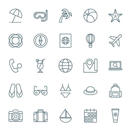 Reizen en vakantie pictogrammen set
