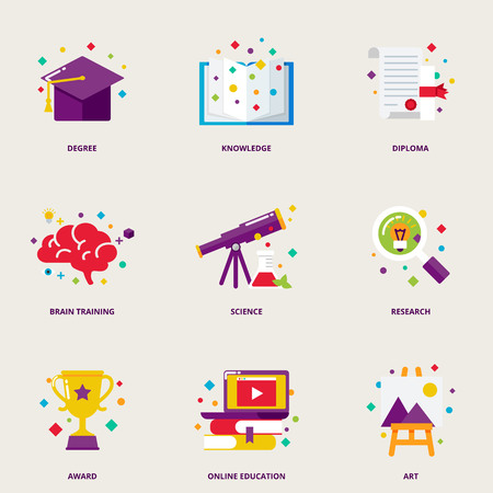 knowledge: Education and research colorful icons set: degree, knowledge, diploma, brain training, science, research, award, online education, art Illustration