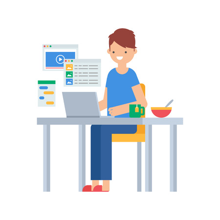 work table: Vector illustration of a man wearing home clothes sitting at the table with laptop and surfing the Internet, freelance work