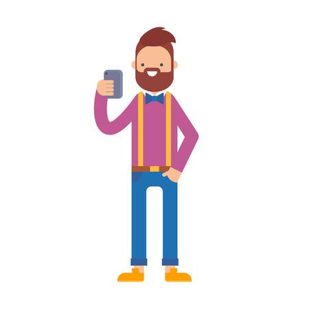 telefono caricatura: Un hombre que sostiene el teléfono inteligente móvil ilustración vectorial