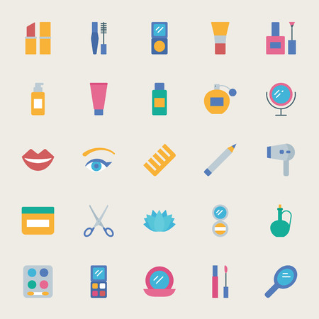 skin oil: Beauty vector icons set, flat style