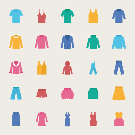 romper: Clothes vector icons set, flat style Illustration