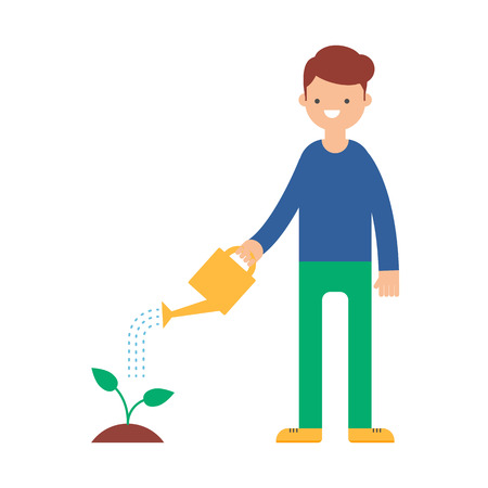 watering garden: A man watering a plant vector illustration