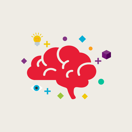 brain: Brain training vector illustration