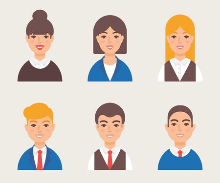 simbolo uomo donna: Set di avatar moderno stile vettoriale. personaggio maschile e femminile. Uomini d'affari