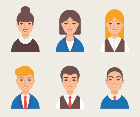 bald girl: Set of avatars modern vector style. Male and female character. Business people
