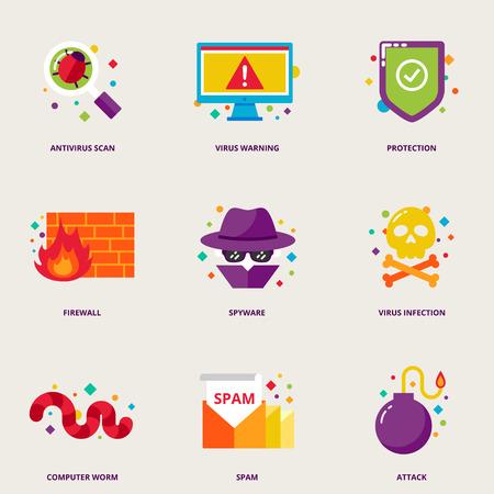 Wirus komputerowy wektorowe ikony zestaw: skanowanie antywirusowe, ostrzegawczy, ochrona, firewall, spyware, zakażenie, robak, spam, atak