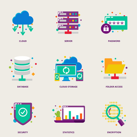 hosting: Cloud computing and network colorful vector icons set: server, password, database, cloud storage, folder access, security, statistics, encryption Illustration