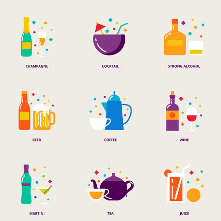 alcohol drinks: Drinks colorful vector icons set: champagne, cocktail, strong alcohol, beer, coffee, wine, martini, tea, juice
