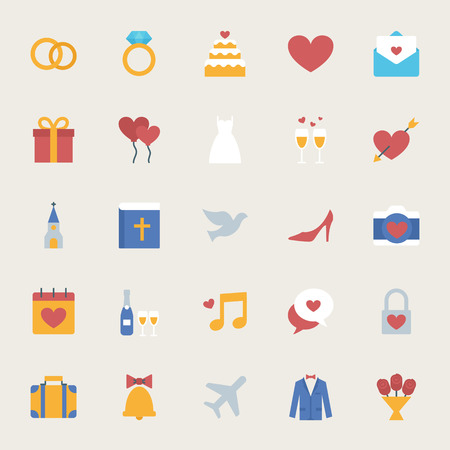 gist: Wedding vector icons set, flat style