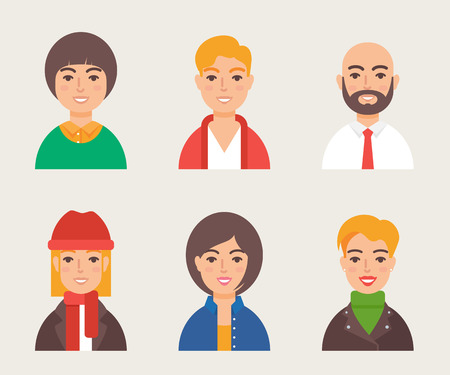 bald girl: Set of avatars modern vector style. Male and female character