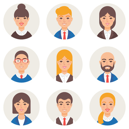 bald girl: Set of avatars modern vector style. Business people