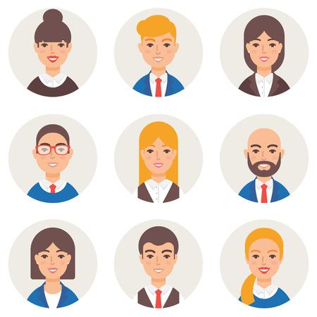 stylish boy: Set of avatars modern vector style. Business people