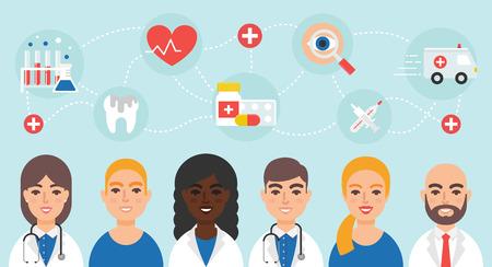 obra social: ilustración vectorial médicos del personal de enfermería comunidad médica