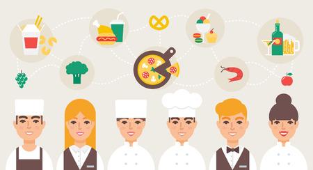 staffs: Restaurant staff chefs waiters vector illustration