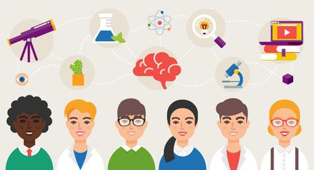 Scientific community vector illustration Illustration