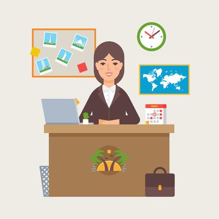 agencia de viajes: ilustración vectorial agencia de viajes de una mujer sentada en la mesa en la oficina
