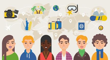 find staff: Travel community vector illustration