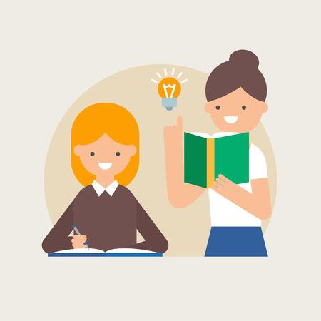 profesor alumno: Ilustración vectorial de los estudiantes de enseñanza del profesor